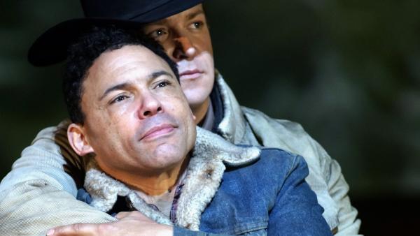 Tom Randle (left) and Daniel Okulitch in the opera <em>Brokeback Mountain</em>.