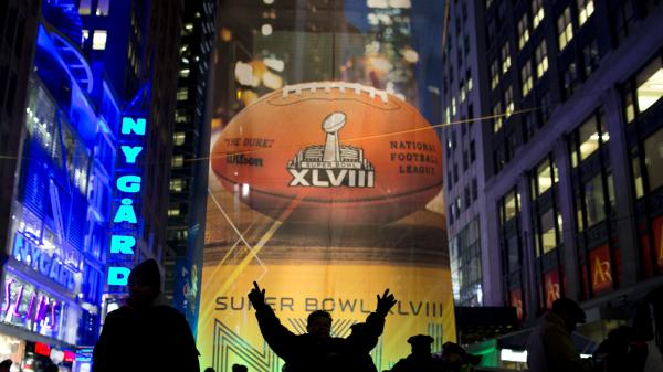 Fans gather on the Super Bowl Boulevard in Times Square on Friday in New York. The Seattle Seahawks will play the Denver Broncos on Sunday in NFL football's Super Bowl XLVIII in East Rutherford, N.J.