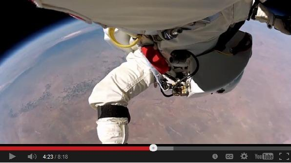 Felix Baumgartner taking the plunge from 24 miles up in his record-breaking 2012 jump.