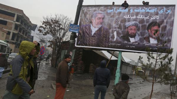A campaign banner is posted in Kabul, Afghanistan, for presidential candidate Abdullah Abdullah on Sunday.
