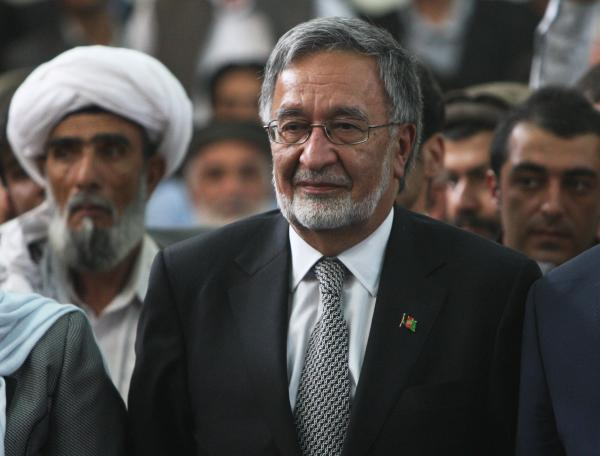 Candidate Zalmai Rassoul (center) is a former foreign minister.