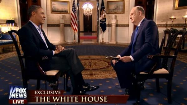 President Obama and Fox News Channel host Bill O'Reilly at the White House on Sunday.