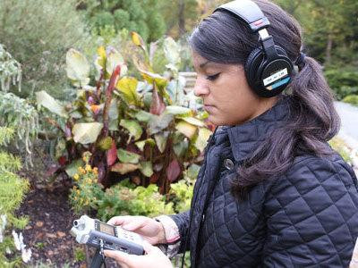 Brooke Watson of Duke University gathers sound for the Sonic Dictionary.