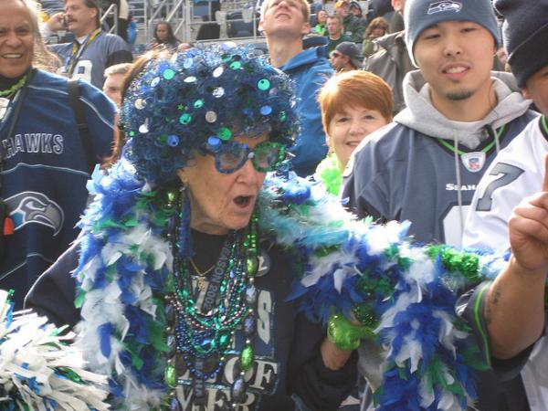 Seattle team spirit brings out the young at heart. Superfans will be wearing their green and blue finest when the team faces Denver on Sunday. (John Patzer/Flickr)