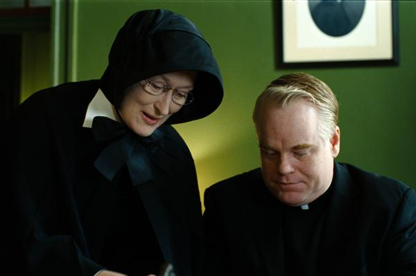 Hoffman portrays Father Flynn and Meryl Streep portrays Sister Aloysius in the 2008 film adaptation of <em>Doubt</em>.