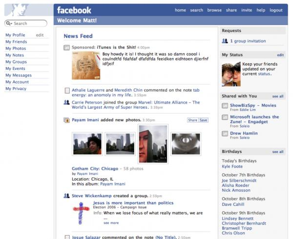 2006: Facebook launches the News Feed, which aggregates friends' new content.