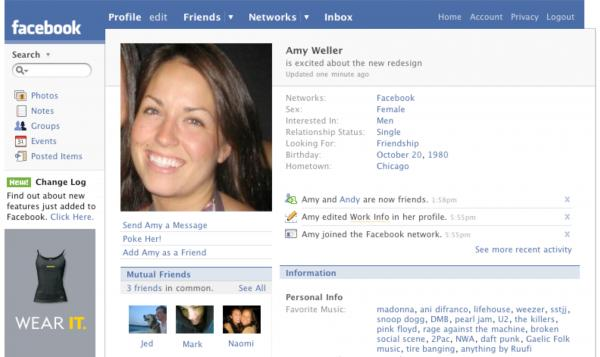 2007: Along with a redesigned profile, Facebook launches self-service ads and Facebook Pages.