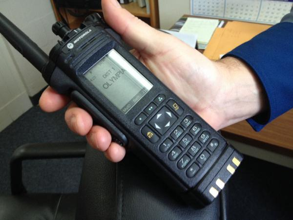 One of the new Washington State Patrol portable radios by Motorola. It's a digital radio to replace the previous analog system.
