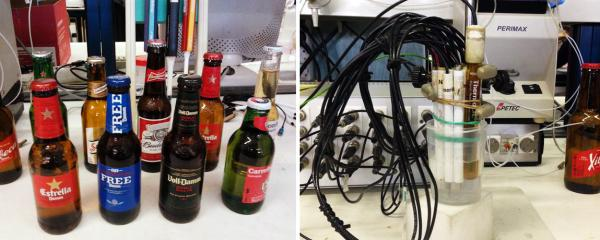 <strong>Robot Beer Party:</strong> The electronic tongue works by using its array of sensors to identify the chemical components in a solution. Researchers taught the tongue how to distinguish among five distinct beer types.