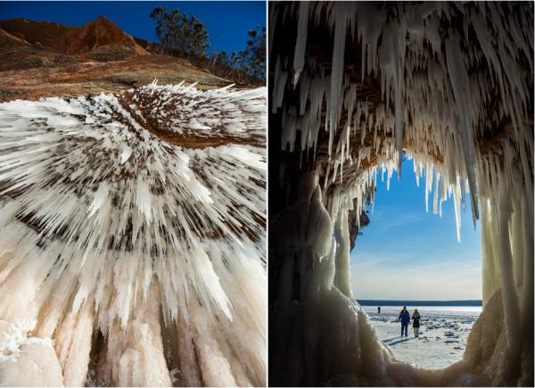 Scenes from the Apostle Islands National Lakeshore in Bayfield, Wis., where Lake Superior's ice is thick enough to walk to the area's sea caves for the first time in five years.