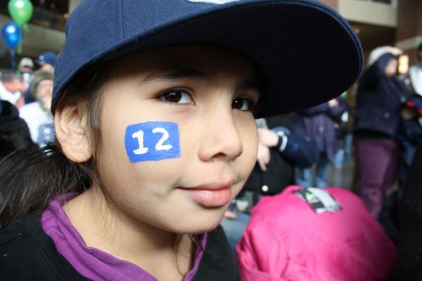 Nine-year-old Alora Morrow of Spokane celebrates the Seahawks' Super Bowl win.