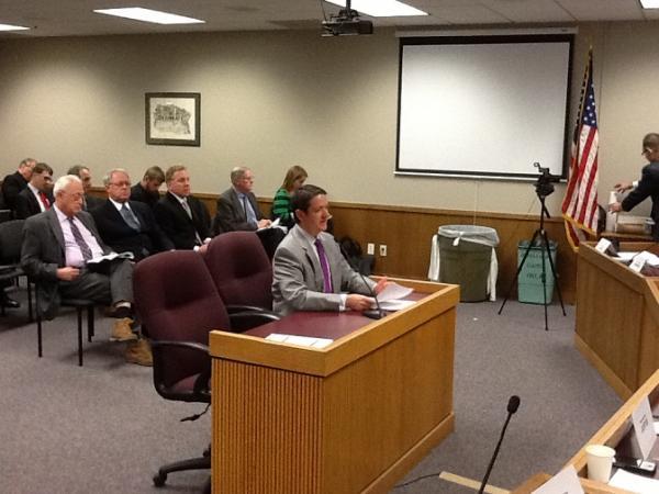 "Mo. House Speaker Tim Jones, R-Eureka, presents his ""Border War"" cease fire bill on Feb. 5, 2014."