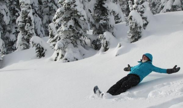 Secretary of the Interior Sally Jewell in her natural habitat, caught mid-fall into snow-angel making.