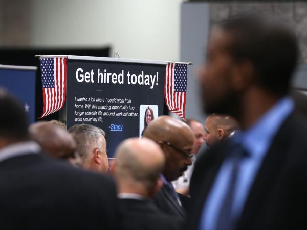 The scene at a Hiring Our Heroes job fair for veterans last month in Washington, D.C.