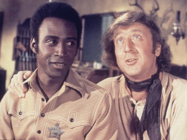 Cleavon Little and Gene Wilder in a scene from <em>Blazing Saddles</em> in 1974.