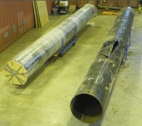 The ruptured section of the crude oil pipeline 6B