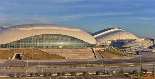 On the right is the Bolshoy Ice Dome, in the middle the Fisht Olympic Stadium and the blue and white building on the right is the Shayba Arena. (Courtesy of Populous)