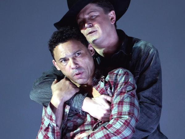 Tom Randle (left) and Daniel Okulitch star in the opera <em>Brokeback Mountain</em>.