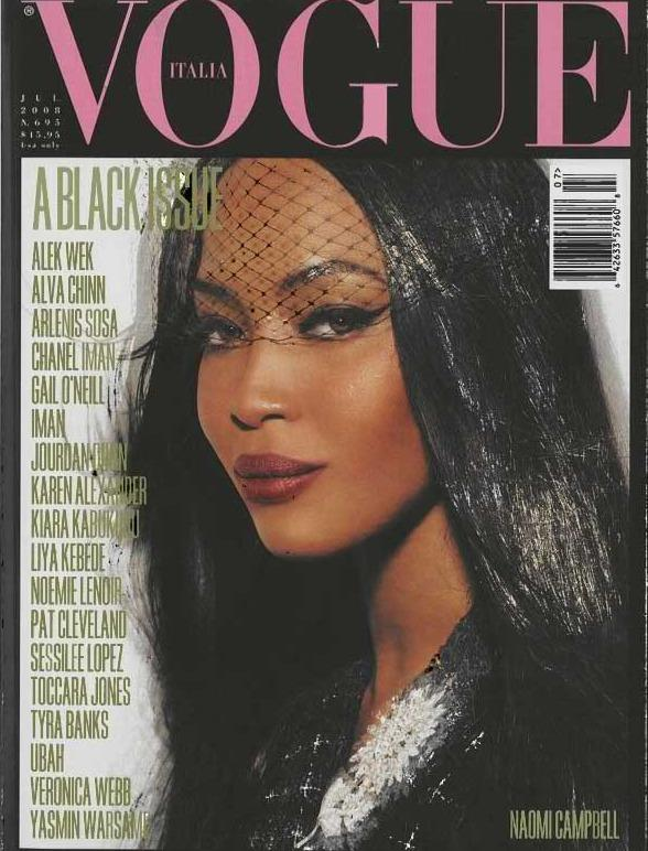 "In July 2008, <em>Vogue Italia</em> published the ""Black Issue."" Naomi Campbell was featured on the cover."