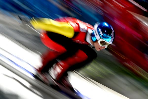 Andreas Wellinger of Germany during ski jump practice in Sochi.