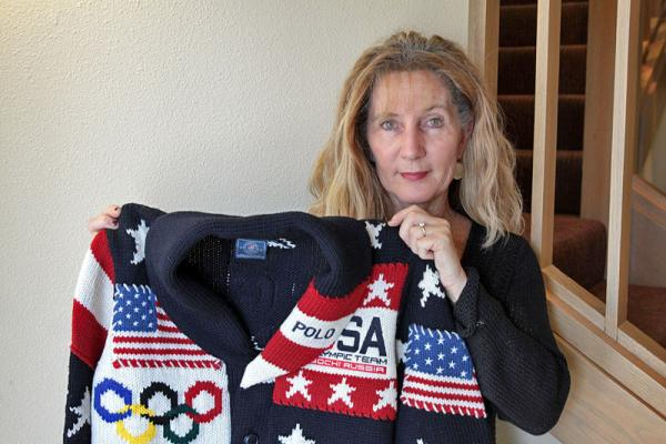 Woolgrower Jeanne Carver with the 2014 U.S. Olympic parade sweater