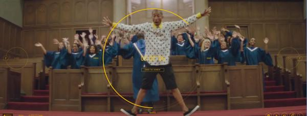 "A still from the 24-hour-long interactive video for Pharrell Williams' song ""Happy."""