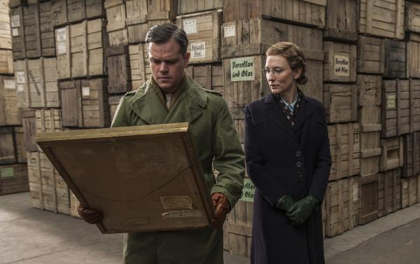 "Critic David Edelstein says that <em>The Monuments Men</em> has ""an all-star cast"" — including Matt Damon and Cate Blanchett — but that ""the stars are all low-wattage."""