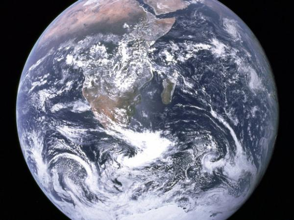 "The ""Blue Marble"" photo taken by the crew of Apollo 17 in 1972. It ranks high among NASA's most famous images."