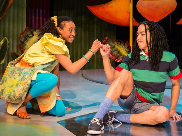 Shy Jamaican boy Ziggy (Jobari Parker-Namdar) and his friend Nansi (Brittany Williams) are main characters in <em>Three Little Birds</em>, an off-Broadway musical driven by Bob Marley's infectious reggae songs — and created by his daughter Cedella Marley.