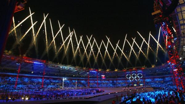 Fireworks light up the sky during the Opening Ceremony of the Turin 2006 Winter Olympic Games on Feb. 10, 2006, at the Olympic Stadium in Turin, Italy.