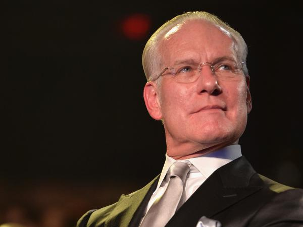 """The term 'vegan leather' makes me think that you peeled a carrot and took the skin and made a jacket out of it,"" says Tim Gunn, pictured above at the <em>Under the Gunn</em> finale fashion show."
