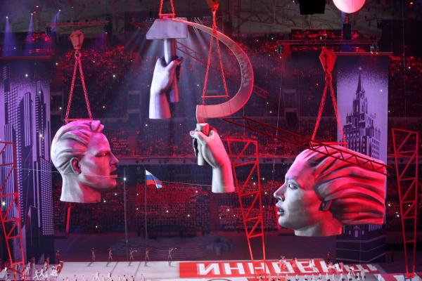 The ceremony included imagery from Russia's recent past, such as the hammer and sickle that adorned the flag of the Soviet Union.