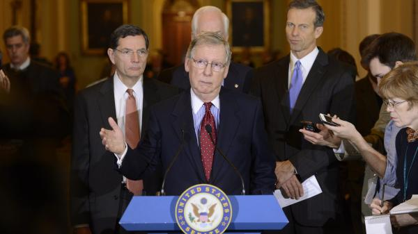 Senate Minority Leader Mitch McConnell delivers remarks  during a news conference in December, where he commented on the Ryan/Murray budget, debt ceiling and XL Pipeline.