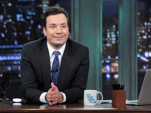 Jimmy Fallon hosts <em>Late Night with Jimmy Fallon</em> at Rockefeller Center on Jan. 28 in New York City. He'll be moving on to host <em>The Tonight Show</em>.