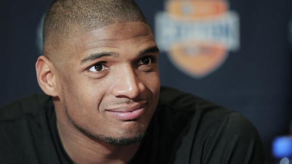 Missouri senior defensive lineman Michael Sam speaks to the media during an NCAA college football news conference in Irving, Texas. Sam revealed in interviews on Sunday that he is gay.