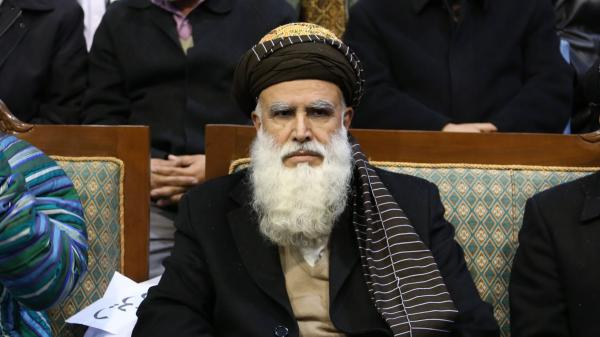 Presidential candidate Abdul Rassoul Sayyaf at a campaign rally in Kabul on Thursday. Sayyaf, a former warlord who helped bring Osama bin Laden and al-Qaida to Afghanistan in the 1990s, is perhaps the most controversial candidate.