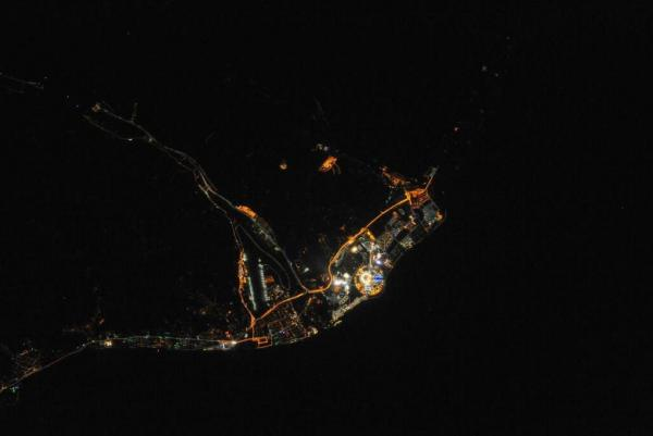 A photo of Sochi's Olympic Park as seen from the International Space Station.