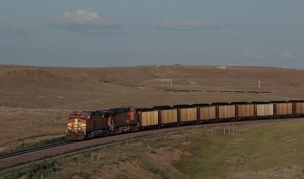 A coal train moves through Wyoming where the coal is mined from the Powder River Basin.