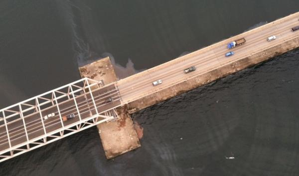 A flyover by the Washington Department of Ecology yielded this photo of Monday's spill at Hood Canal Bridge. The spill, traveled 10 miles from Naval Base Kitsap-Bangor.