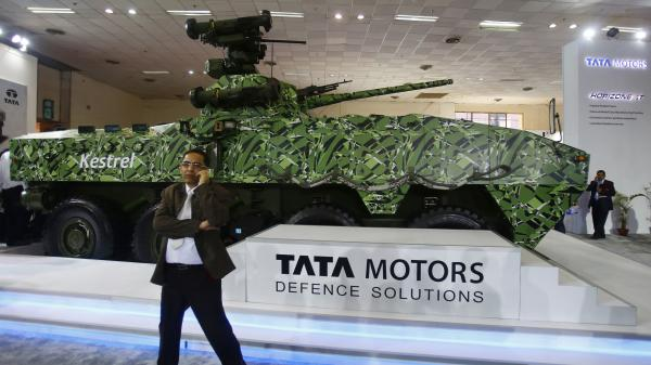 A visitor to a military  exhibition in New Delhi, India, on Feb. 6. Global military spending is expected to increase this year for the first time in five years. The biggest increases are expected in China and Russia.