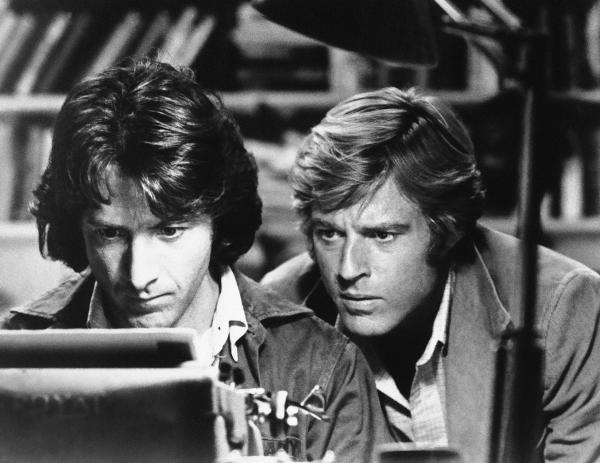 In the 1976 film of <em>All the President's Men</em>, Dustin Hoffman and Redford played the <em>Washington Post</em> reporters who uncovered the Watergate scandal<em>.</em>
