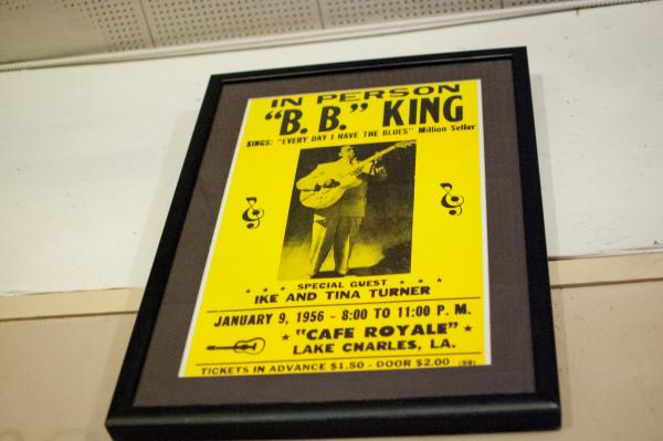 Turner prides himself on a flier for a 1956 B.B. King show in Lake Charles