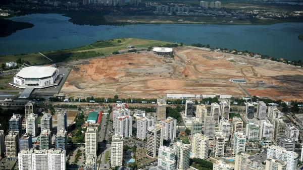 An aerial photo taken on May 10, 2013, shows the site of the future Olympic Park being constructed for the 2016 Summer Games to be held in Rio de Janeiro, Brazil.