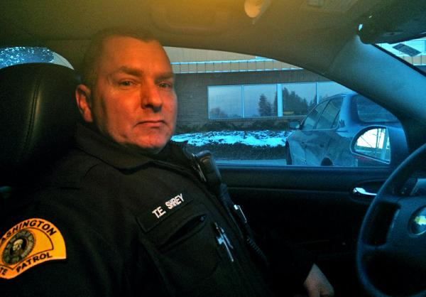 Trooper Tom Shirey works for the Washington State Patrol's Aggressive Driver Apprehension Team in the Spokane area.