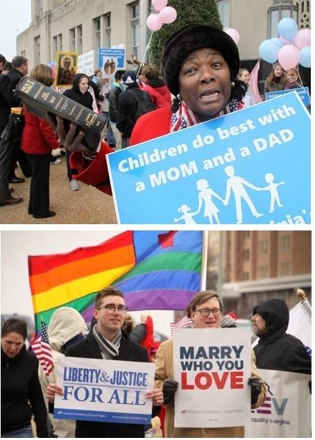 Supporters of same-sex marriage and opponents were out when the challenge to Virginia's law was heard in a Norfolk federal court earlier this month.