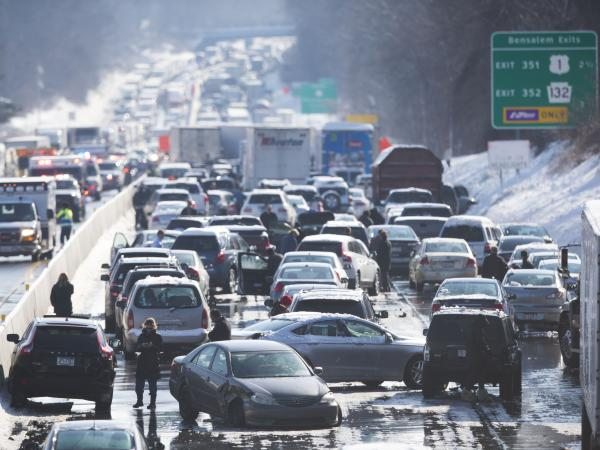 Vehicles are piled up in an accident on Friday in Bensalem, Pa.