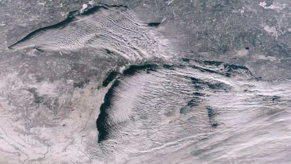 This photo was taken on Dec. 12, so ice hadn't yet built up. But it shows how cold air descending from Canada blows over the lakes.