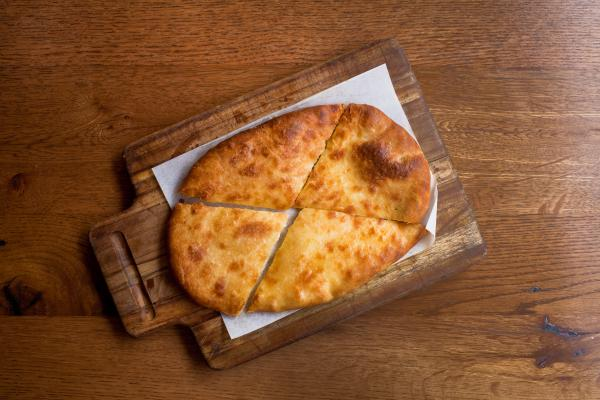 Khachapuri, a traditional Georgian dish of cheese-filled bread