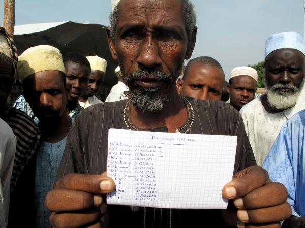 "Saliou Iya holds a handwritten list of herds of cows he says that Christian militias killed. Muslims are the country's herders. ""My father was a cowboy,"" Iya says. ""I was born a cowboy."""
