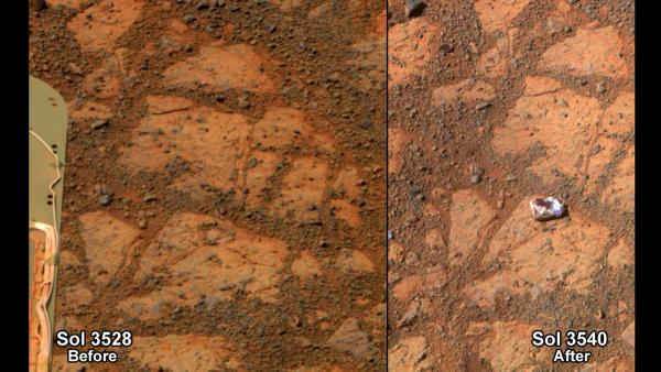 "This composite image provided by NASA shows before-and-after images taken by the Opportunity rover on Mars of a patch of ground taken on Dec. 26, 2013, showing the ""Pinnacle Island"" rock."